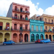 Colorful colonial buildings in Havana, Cuba