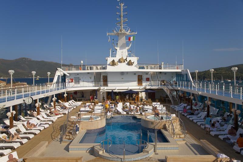 Insignia Oceania Cruise ship as it cruises Mediterranean Ocean, Europe.