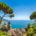 Amalfi Coast with Gulf of Salerno from Villa Rufolo gardens in Ravello, Campania, Italy