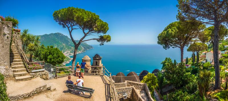 Amalfi Coast with Gulf of Salerno from Villa Rufolo gardens in Ravello, Campania, Italy.