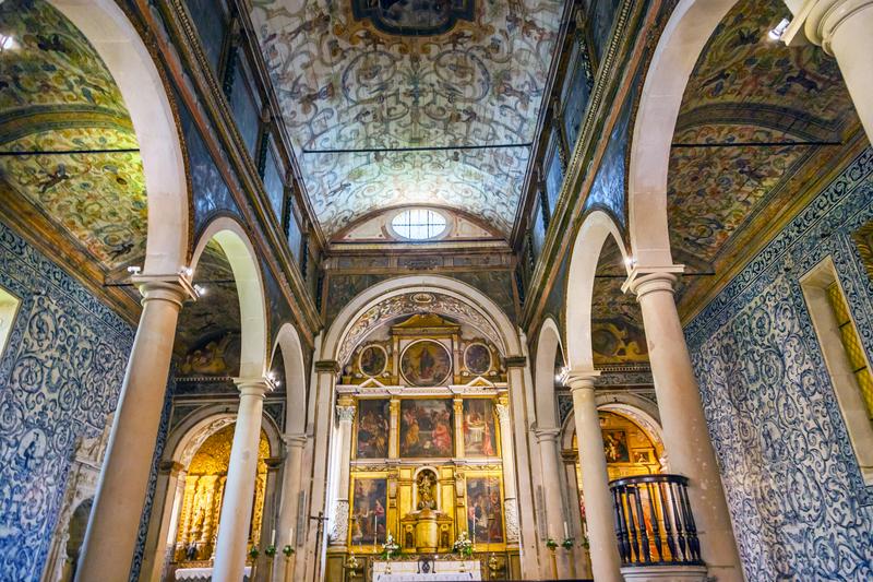 Santa Maria Church Igreja de Santa Maria Basilica Altar 11th Century Medieval Town Obidos Portugal. Built in the late 13th/early 14th century.