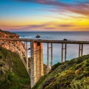 Bixby Bridge (Rocky Creek Bridge) and Pacific Coast Highway at sunset near Big Sur in California