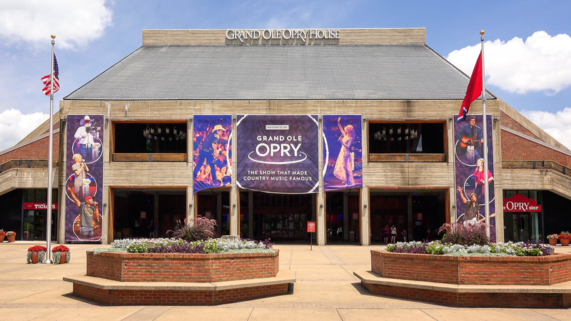 Exterior of the Grand Ole Opry House in Nashville, Tennessee.