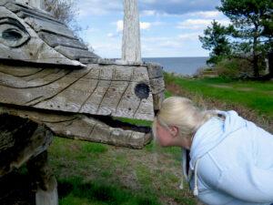 Examining a Langlois sculpture at Ogunquit Museum of American Art, Ogunquit, Maine